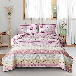 花卉床罩 普通双人床/中号双人床女童被子 黄色雏菊花被子 夏季被子 花卉毯子 儿童冬季床单套装