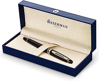 Waterman Expert 钢笔,亮黑色,23k金饰边,精美笔尖和蓝色墨盒,礼品盒装