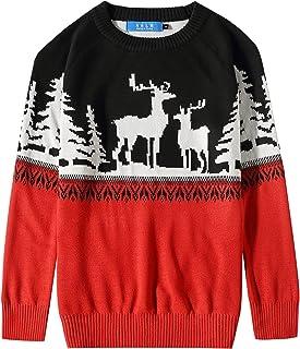 SSLR 大男孩圆领驯鹿套头衫圣诞丑毛衣