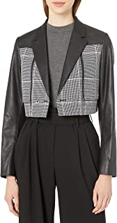 BCBGMAXAZRIA 女式 Houndstooth 人造皮革短款外套