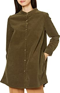 Cecile 衬衫 长款 长袖 灯芯绒 无领 弹力 宽松 女士