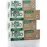 Hello Oral Care 天然增白的氟化物牙膏,素食和不含SLS,带有茶树油和椰子油的农家薄荷,4件