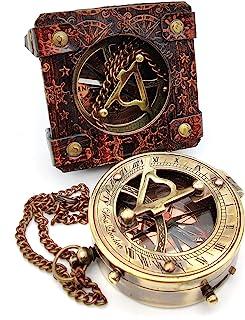 5MOONSUN5 复古黄铜日表盘指南针海洋船礼品口袋太阳表盘皮革展示盒航海礼品太阳时钟海盗船复制手表蒸汽朋克配件