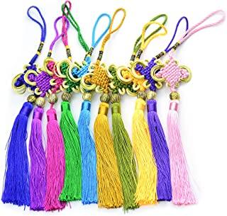 Makhry 10 x 10 英寸(约 25.4 x 25.4 厘米)手工丝绸中结流苏金色缎丝制中国结 适合家居和汽车装饰(混合 1 )