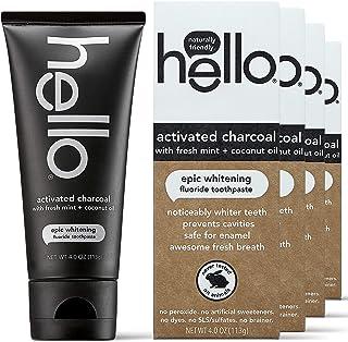 Hello Oral Care 活性炭氟*牙膏,素食,不含SLS,4 支装