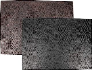 SIGNATURE HOME COLLECTION 41/A04/A09 皮革冲浪印花餐垫 6 件套,可翻转和擦拭清洁,易于护理,45 x 33 厘米,棕色/黑色