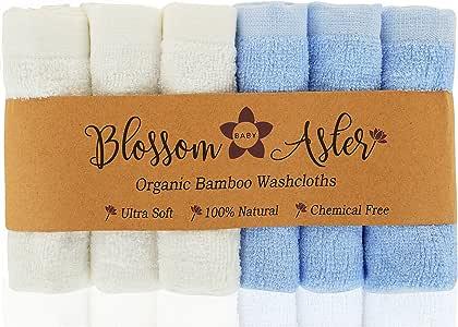 Blossom Aster Bamboo 婴儿毛巾 - 6 条装 - 超柔软 - 适合宝宝敏感肌肤的吸水毛巾 - 25.4 厘米 x 25.4 厘米 - 婴儿新生儿派对礼物 蓝色