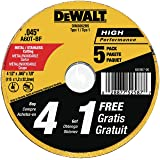 DEWALT DW8062B5 10.16cm x 0.11cm 金属和不锈钢切割轮,2.22cm 的箭架,5 件装