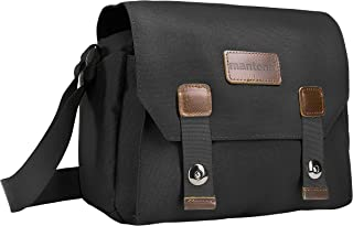 Mantona Milano piccolo 相机包 (时尚通用包,适用于数码单反相机、系统相机及配件 复古灰色内饰) 黑色