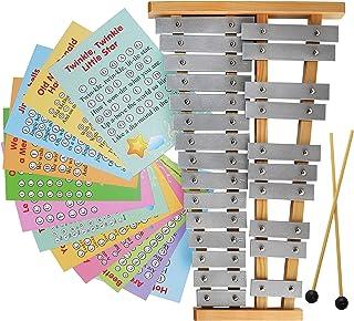 Glockenspiel 25 音符 - 彩色金属木琴 - 乐谱卡