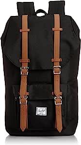 Herschel Supply Little America 大号 中性 经典系列 时尚双肩背包 10014-00001 黑色/棕褐色合成革 25 L