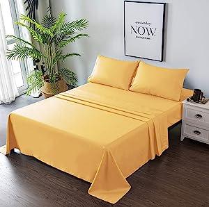 Goza Bedding 4 件套超细纤维床单套装 黄色 King