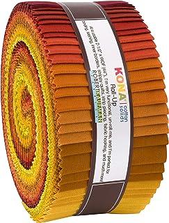 Robert Kaufman Kona 棉固体秋下摆卷 6.35 厘米预裁棉布绗缝条果冻卷组合 RU-772-40