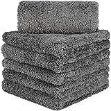 CARCARCAREZ 高级超细纤维毛巾,汽车干燥洗细节打磨打蜡抛光毛巾,带长毛绒无边超细纤维布 灰色 MF_4316…