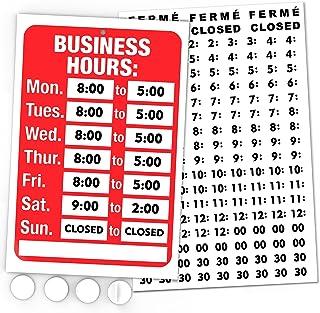 开放式标志,工作时间标志套件 - 亮红色和白色 - 包括 4 个双面粘合垫和黑色乙烯基数字贴纸套装 - 适合任何商务、商店或办公室的标志
