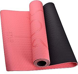 ZYLO 防滑瑜伽垫 6 毫米 TPE 专业纹理锻炼地板锻炼健身普拉提带便携包 183 X 61 厘米