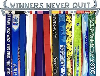 皇冠*章支架 - Winners Never Quit Medal 展示架 | 马拉松赛跑者、铁人三项、体操或其他运动的*章挂钩
