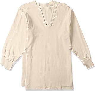 (郡是) Gunze 男士保暖柔软平滑纯棉长袖 u领2片装