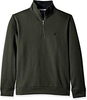 Nautica 男士纯色 1/4 拉链羊毛运动衫