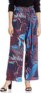ECI New York 女式热带印花纸袋腰弹力长裤,带系带