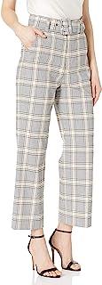 Joie 女士束带喇叭格纹裤