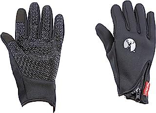 CAPTAIN STAG 手套 防风 防寒 潜水服面料 修身型 适用于智能手机 男女通用