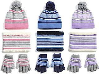 Wonder Waroom 儿童冬季绒球帽手套围巾 3 件套针织弹性条纹毛绒保暖休闲男孩女孩