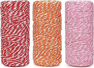 棉质烘焙绳索线 328 英尺 100 米,适用于烘焙、工艺品和圣诞节假日包装绳(红色/橙色/粉色)