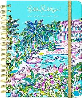 Lilly Pulitzer 大号 2020-2021 年记事本周和月记,2020 年 8 月 - 2021 年 12 月 精装日历 带笔记/地址页、贴纸、口袋、层压隔板 L Island Hopping Toile