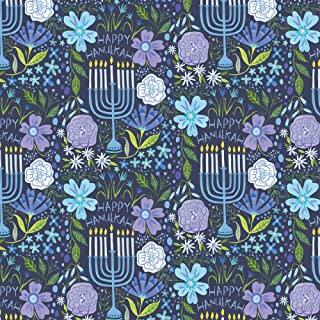 Jillson & Roberts 光明节礼品包装纸,花卉Menorah (8 卷 5 英尺 x 30 英寸)