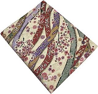 日本和服印花面料。金色和花朵。* 棉 43.30 英寸 x78.74 英寸(110x200 厘米)日本制造(白色)
