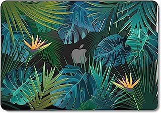 GMYLE MacBook Air 13 英寸保护套 A1466 A1369 旧版 2010 2017,硬壳塑料黑色水晶扣入式保护套(热带夏季棕榈叶在黑暗中)