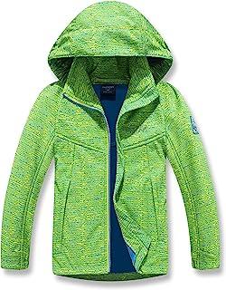 男孩女孩防雨夹克,带可拆卸兜帽,轻质防水雨衣,适合儿童风衣休闲外套