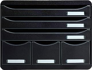 Exacompta Store Box 马克西 ecob 漆带6抽屉 / 批可抽屉盒的横向适用于多空间上桌子黑色 黑色