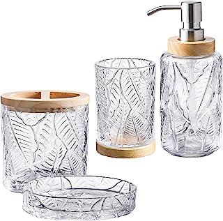 KMwares 透明玻璃农舍浴室配件套装 4 件套 - 包括洗手液分配器和牙刷架、肥皂碟和玻璃杯 - 叶形图案和木质装饰