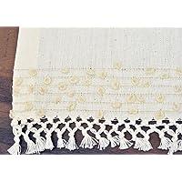手工编织餐桌桌布 - 未染色 * 天然棉,可机洗 15.3 X 95 厘米(长 X 宽),非常适合日常使用、晚宴派对