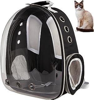 XZKING 猫咪背包 透气透明空间胶囊背包 适合小狗旅行、露营和徒步旅行 黑色
