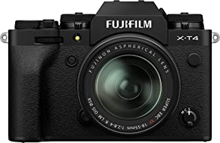 Fujifilm 富士 X-T4 无反光数码相机,黑色配富士龙 XF18-55 mm F2.8-4 R LM 光学图像稳定器镜头套件