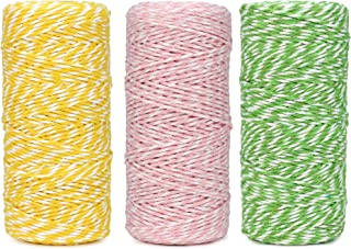 Cotton Bakers 绳索线 328 英尺 100 米,适用于烘焙、工艺品和圣诞节假日包装绳(黄色/浅粉色/浅*)