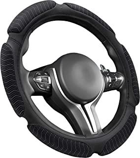 GOODYEAR,GY1420,高竞赛性能方向盘套,防滑,高抓地力,通用 - 适合大多数汽车,直径:14.5 - 15.5 英寸(约 36.8 - 39.4 厘米),全天候适用,运动,男士必备汽车配件