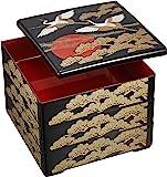 若泉漆器 3层漆盒 6.5寸重 外黑内红涂层 日出鹤 1-459-41