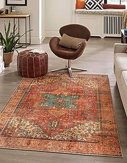 Unique Loom Revival 系列传统*章边框锈红色/蓝色地毯(3' 6 x 5' 6)
