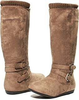 Sara Z Kids Girls Microsuede Knee High Cut Boots With Knit Cuffs (See More Colors and Sizes)