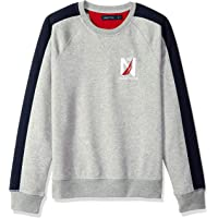 Nautica 诺帝卡 男式徽标拼色圆领羊毛运动衫