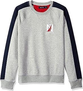 Nautica 男士标志拼色圆领羊毛运动衫