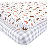 Hudson Baby Cotton Fitted Crib Sheets, 2 Pack, Woodland, One…