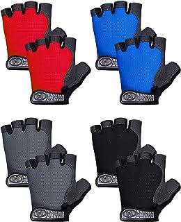 4 双装儿童骑行手套防滑透气无指运动手套半指减少振动手套适用于户外运动自行车