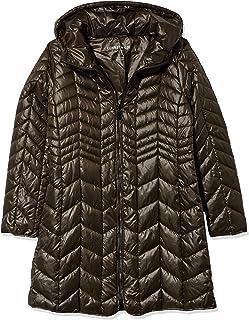 Kenneth Cole 女士连帽 V 形绗缝轻质羽绒服,带厚拉链