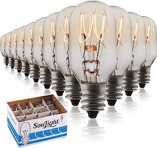 盐岩灯泡 10 个装 + 2 个 15 瓦替换灯泡 适用于喜马拉雅盐灯和篮子,香味插入式和蜡加热器,夜灯白炽灯 T20 E12 插座带烛台底座,透明