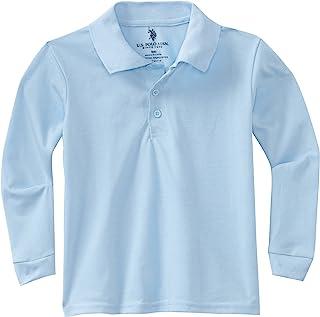 U.S. Polo Association School Uniform Big Boys' Long Sleeve Pique Polo Shirt